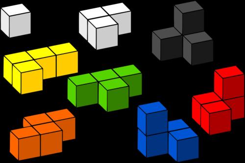 色々な形と色をしたブロック