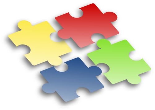 4色のパズルのピース