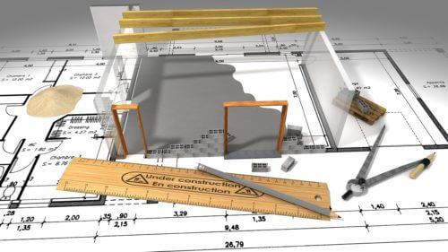 構図と分度器と鉛筆