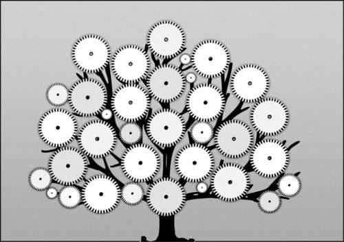 木の枝に色々な部品が付いている