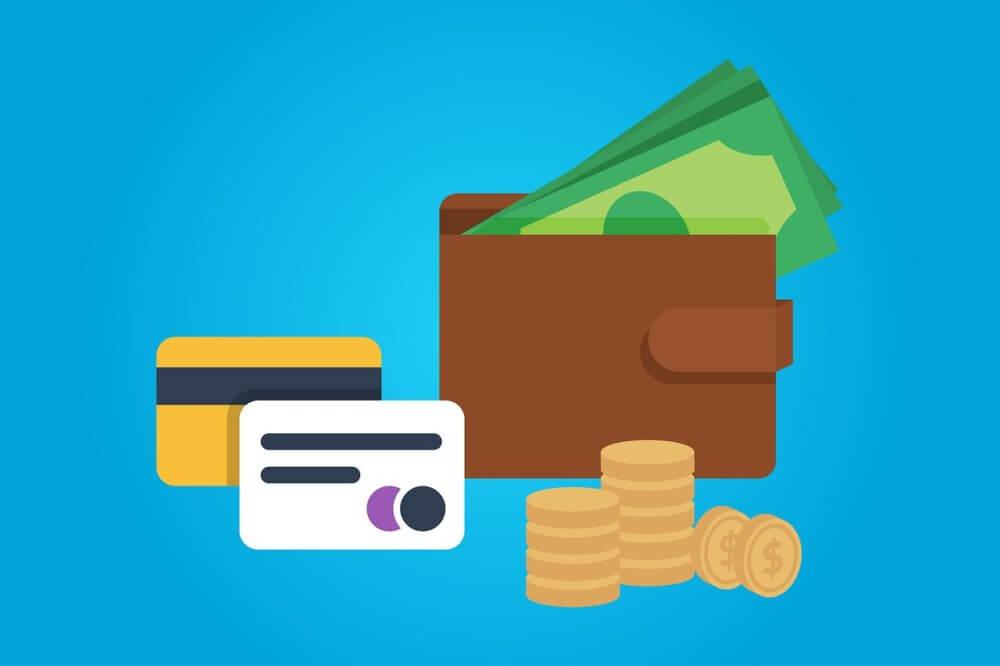 カード、財布、紙幣とコイン