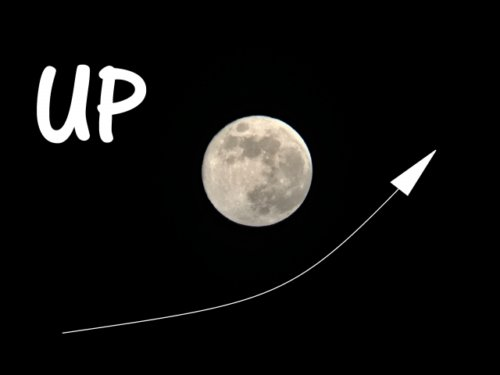 夜空の満月とUP