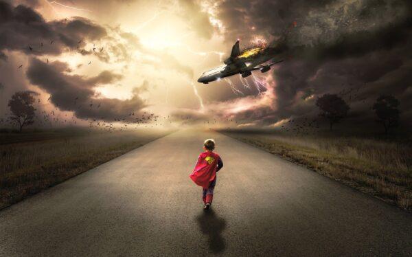 雷と飛行機と少年ヒーロー