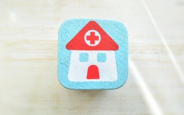 可愛らしい病院を意味するスタンプ